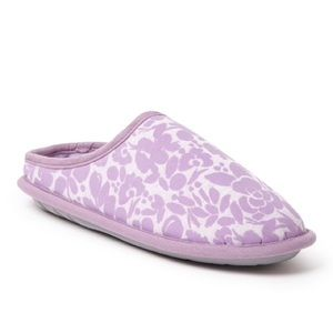 Dearfoams Flocked Memory Gel Foam Slippers Pink